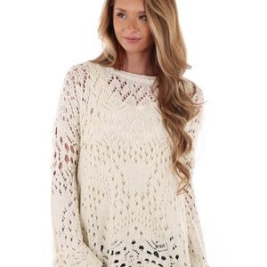 Free People Traveling Crochet Lace Sweater